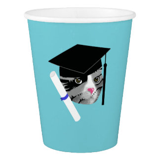 Vaso De Papel Gato de la graduación