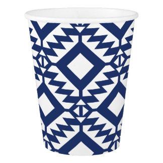 Vaso De Papel Geométrico azul y blanco tribal