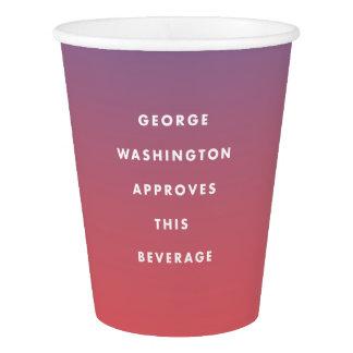 Vaso De Papel George Washington aprobó la taza de la bebida