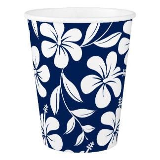 Vaso De Papel Hibisco azul y blanco