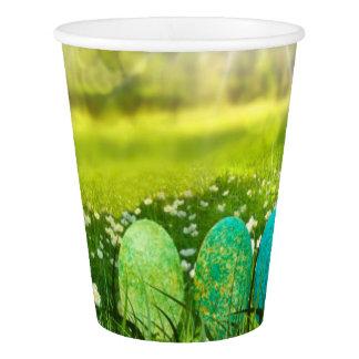 Vaso De Papel Huevos de Pascua en verdes y azules de la