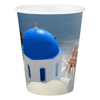 Vaso De Papel Iglesia de Santorini por la tarde Sun