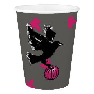 Vaso De Papel ilustracion de Halloween de un cuervo y de una