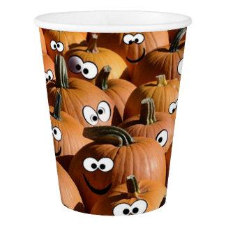 Vaso De Papel La calabaza del feliz Halloween hace frente a la