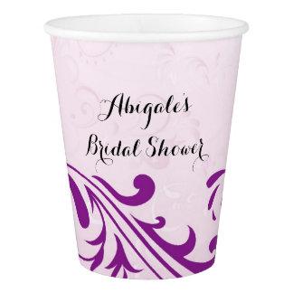 Vaso De Papel La púrpura personalizó las tazas nupciales de la
