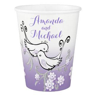 Vaso De Papel Lovebirds en colores pastel que casan la taza de