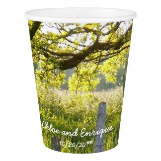 Vaso De Papel Luz del sol y boda personalizado árboles