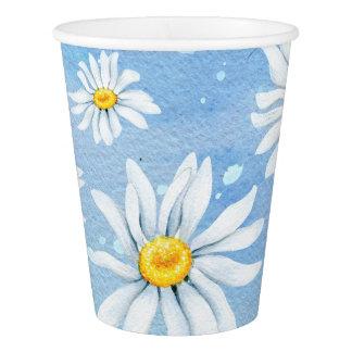 Vaso De Papel Margaritas blancas en azul