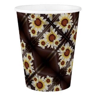 Vaso De Papel Margaritas en marrón