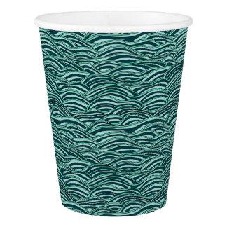 Vaso De Papel Modelo de ondas verde y azul. Textura del mar