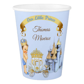 Vaso De Papel Muchacho real de príncipe Castle Carriage Blue