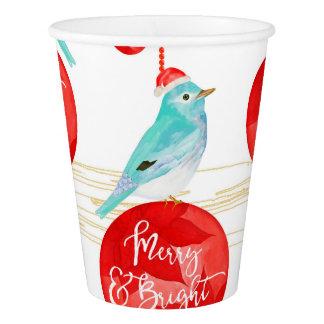 Vaso De Papel Ornamentos y pájaros del navidad