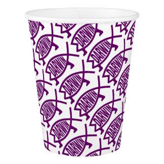 Vaso De Papel Pescados originales de Darwin (violetas)