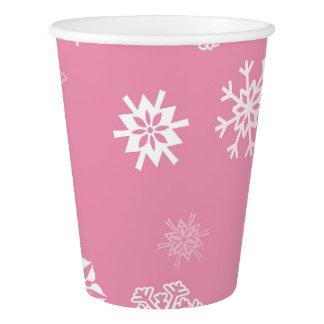 Vaso De Papel Rosa de los copos de nieve