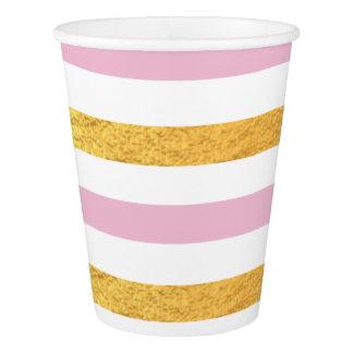Vaso De Papel Rosa y taza del fiesta del oro