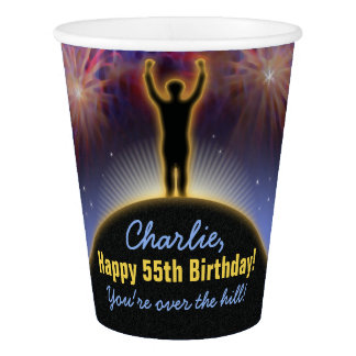 Vaso De Papel Sobre la taza del cumpleaños de la colina