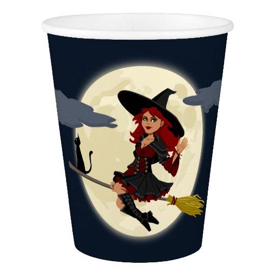 Vaso De Papel Taza de papel de encargo de la bruja de Halloween,