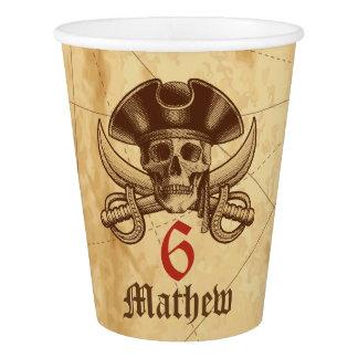 Vaso De Papel Taza de papel del cumpleaños del cráneo del pirata