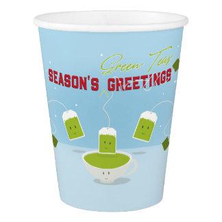Vaso De Papel Taza de papel verde de los tés el | de la estación