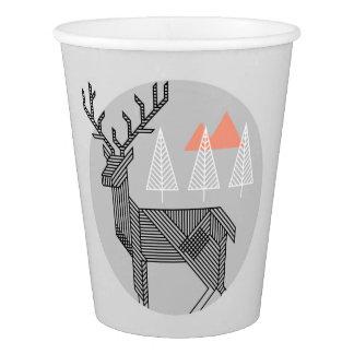 Vaso De Papel Tazas geométricas de la fiesta de Navidad del reno
