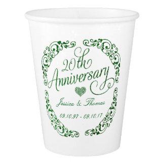 Vaso De Papel vigésimo Aniversario de boda esmeralda