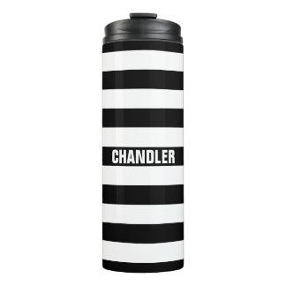 Vaso rayado blanco y negro personalizado