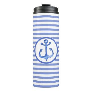 Vaso termal rayado de los azules marinos náuticos