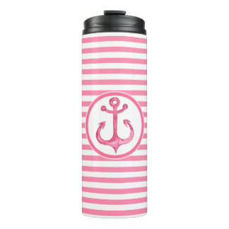 Vaso termal rayado del ancla rosada náutica