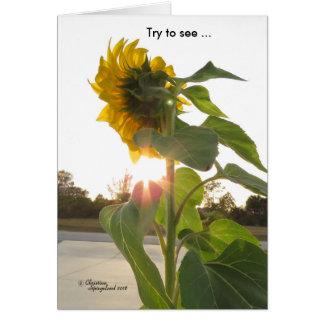 Vea las flores de la sol a través de tarjeta de la