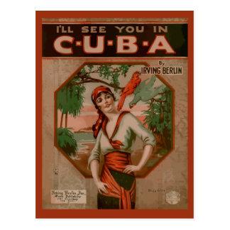 Véale en Cuba, cubierta retra de la partitura Postal
