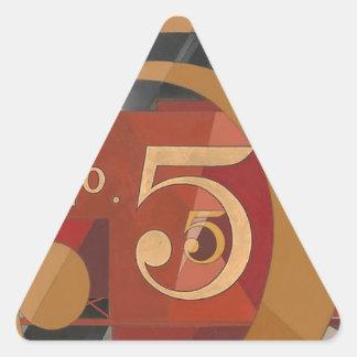 Véase el cuadro 5 en oro pegatina triangular