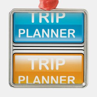 Vector brillante del botón del planificador del adorno navideño cuadrado de metal