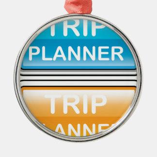 Vector brillante del botón del planificador del adorno navideño redondo de metal