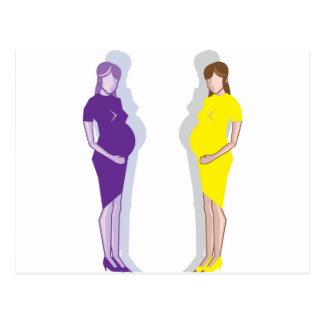 Vector de la mujer embarazada postal