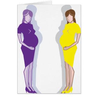 Vector de la mujer embarazada tarjeta de felicitación