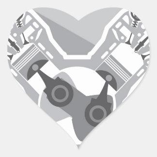 Vector de la sección representativa del motor de pegatina en forma de corazón