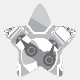 Vector de la sección representativa del motor de pegatina en forma de estrella