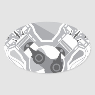 Vector de la sección representativa del motor de pegatina ovalada
