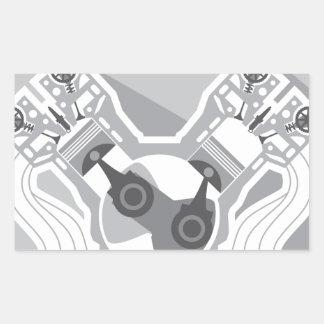 Vector de la sección representativa del motor de pegatina rectangular