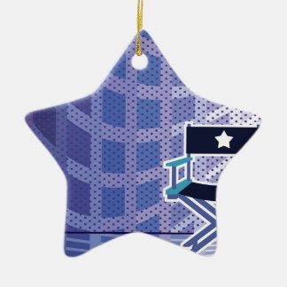 Vector de la silla del director/de la estrella adorno navideño de cerámica en forma de estrella