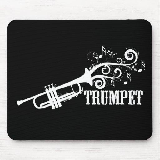 Vector de la trompeta con remolinos alfombrillas de ratón