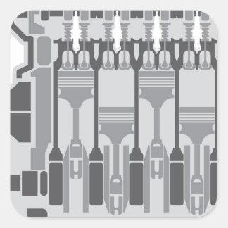 vector del motor de 4 cilindros pegatina cuadrada