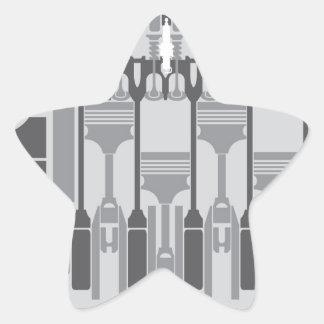 vector del motor de 4 cilindros pegatina en forma de estrella