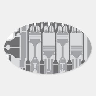 vector del motor de 4 cilindros pegatina ovalada