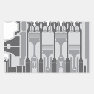 vector del motor de 4 cilindros pegatina rectangular