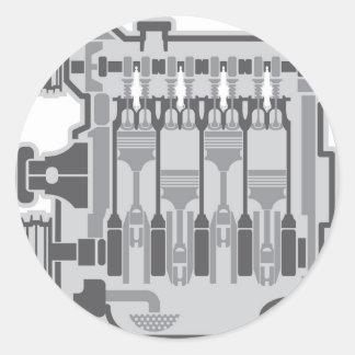 vector del motor de 4 cilindros pegatina redonda