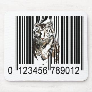 Vector divertido del código de barras del tigre alfombrilla de ratón