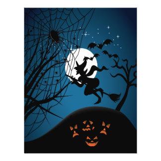 vector fantasmagórico de la bruja y de las arañas  folleto 21,6 x 28 cm
