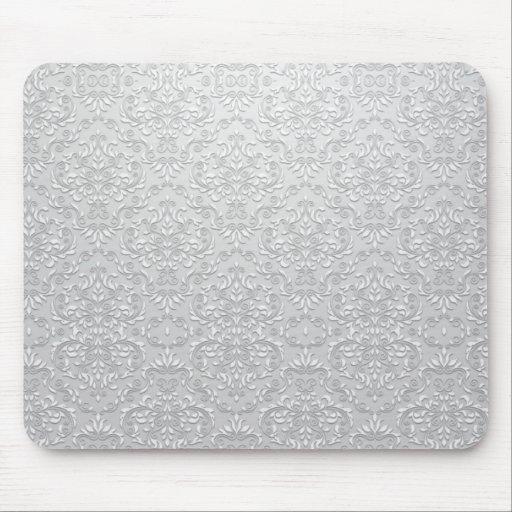 Vector gris y blanco elegante del damasco alfombrilla de ratones