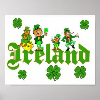 Vector - trébol Irlanda del Leprechaun Póster